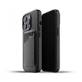 Husa de protectie Mujjo tip portofel pentru iPhone 13 Pro, Piele, Black