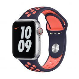 Curea Apple pentru Apple Watch 40mm Nike Band: Blue Black/Bright Mango Nike Sport Band - Regular