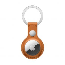 Breloc Apple pentru AirTag Leather Key Ring, Golden Brown