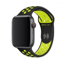 Curea Apple Watch 44mm Nike Band: Black/Volt Nike Sport Band - S/M & M/L