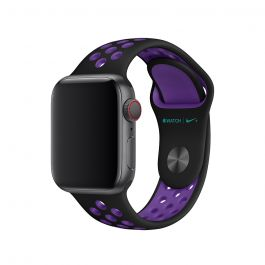 Curea Apple Watch 40mm Nike Band: Black/Hyper Grape Nike Sport Band