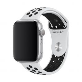 Curea Apple Watch 44mm Nike Band:Pure Platinum/Black Nike Sport Band - S/M & M/L
