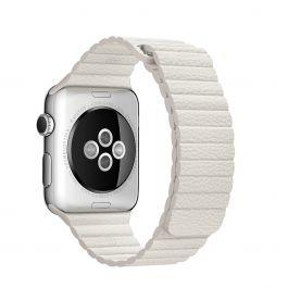 Curea Apple pentru Apple Watch 42mm Leather Loop White - Large