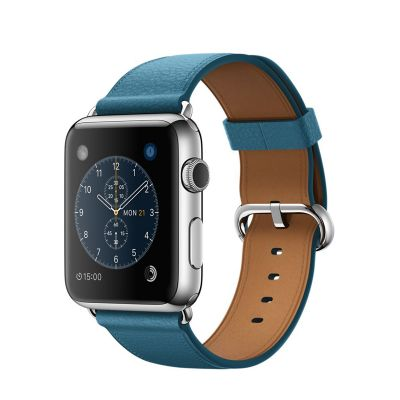 Apple Watch Stainless Steel Case with Marine Blue Classic Buckle (42mm)