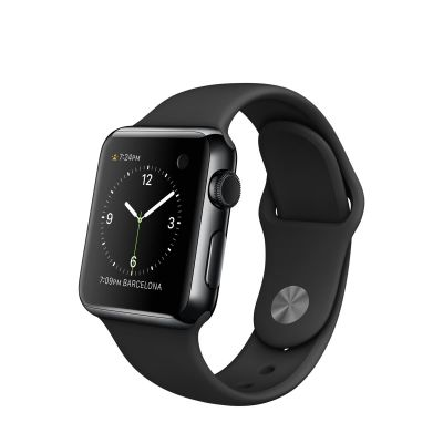 Apple Watch Space Black Stainless Steel Case with Black Sport Band (38mm)