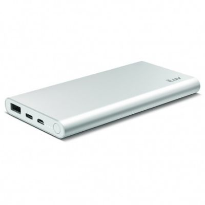 (EOL) iLuv 2 Port Power Bank (1 Port C, 1 PORT USB) - Silver