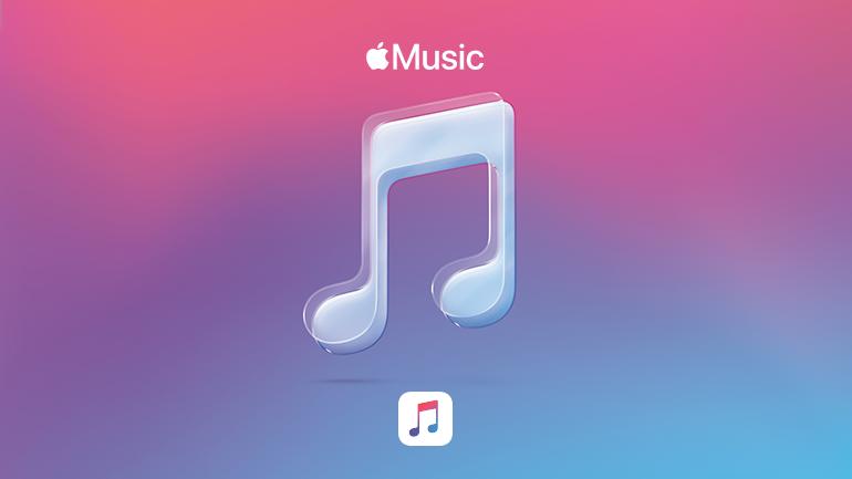 aplicatia Apple Music pe fundal roz albastru