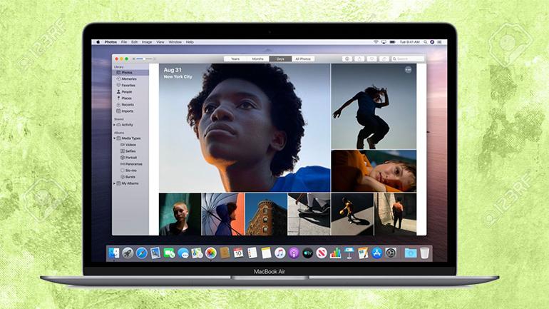 mai multe fotografii pe ecranul unui macbook