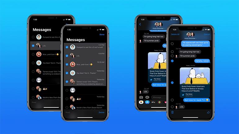 patru fete de iphone pe fundal albastru