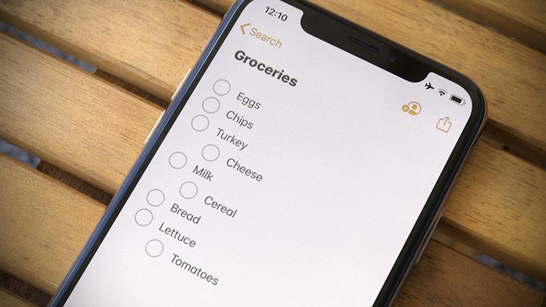 aplicația Notes pe iPhone