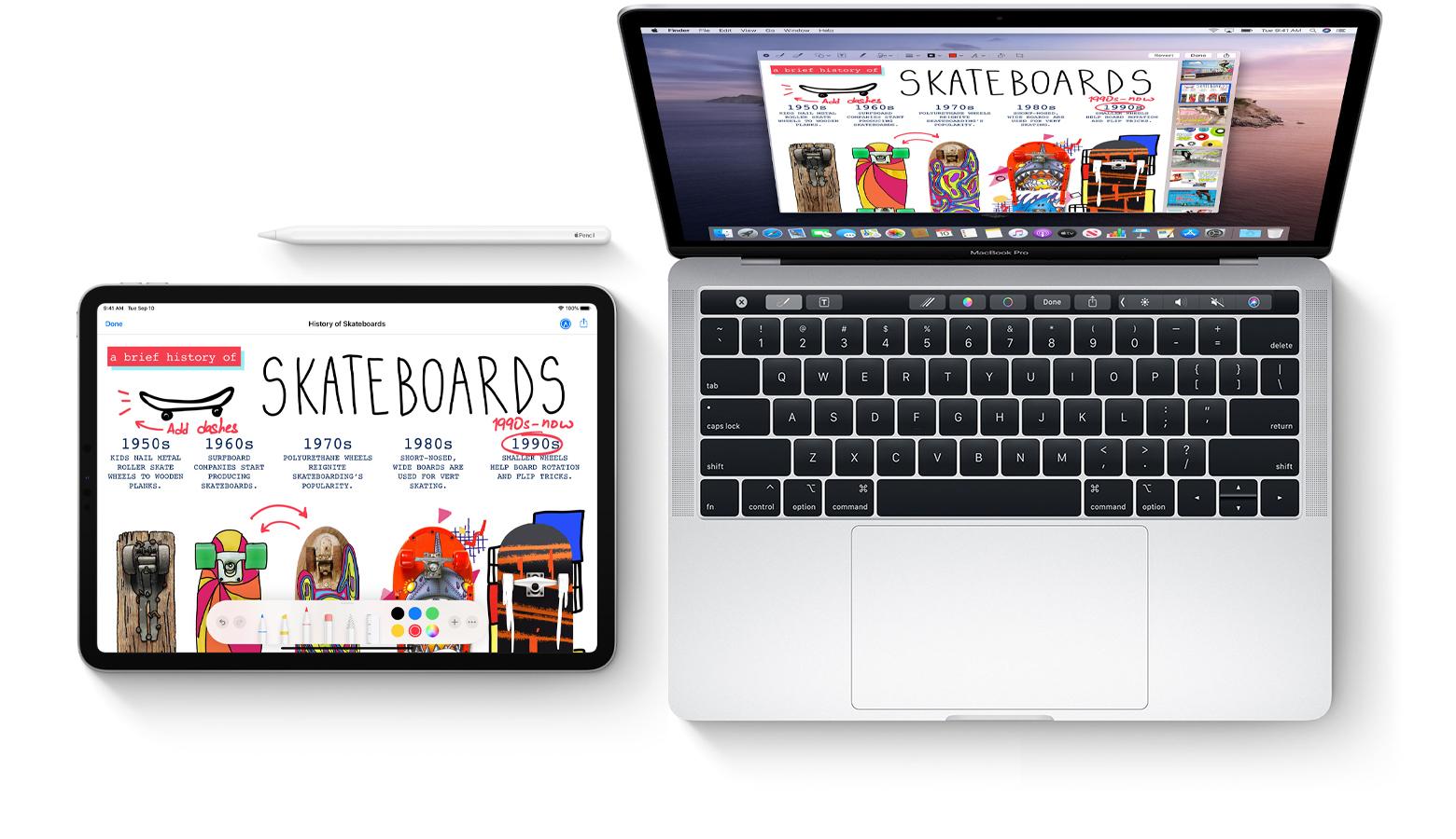 tableta si macbook pe fundal alb