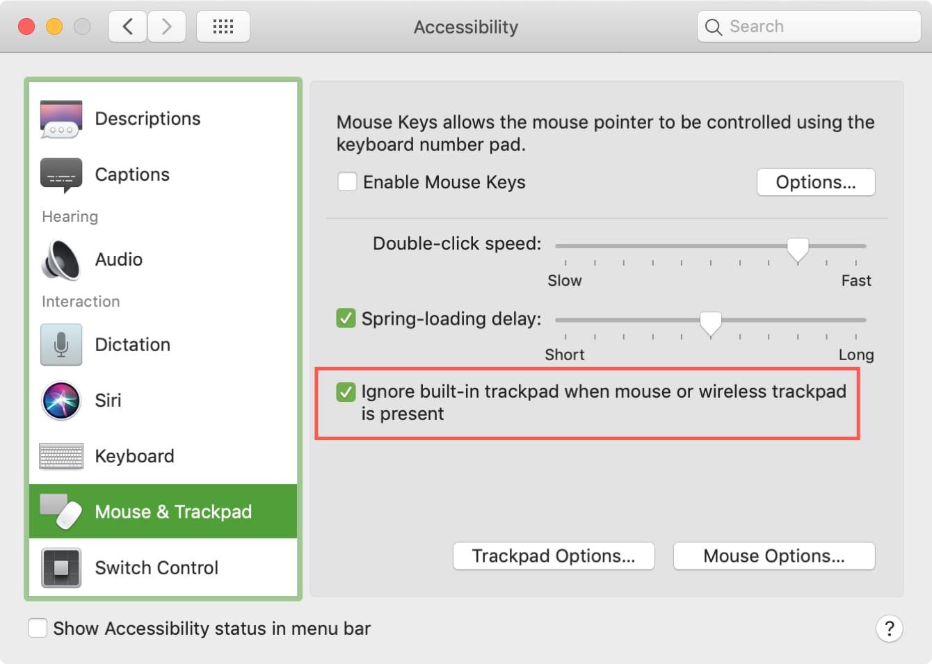 setari mouse mac